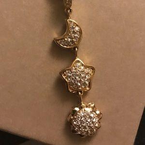 Swarovski crystal sun moon and star necklace